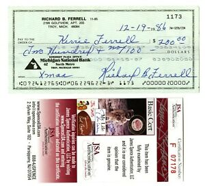 Rick Ferrell Signed Check Red Sox Auto HOF JSA COA Teammate of Ted Williams Mint