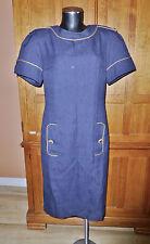 Vtg 80s Dress Emporio OLEG CASSINI Navy Military Chic Gold Buttons DRESS C102