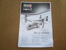 Original Manual Revell Aircraft Plastic Model Kit 1/72 Bell MV-22 Osprey