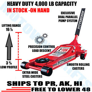 2 Ton Low Profile Floor Jack HEAVY DUTY STEEL Rapid Lift Pump Hydraulic Car Shop