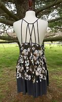 NEW Free People IFP gray brown Sheer Floral Strappy Back Swingy Slip Dress L