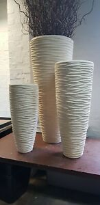 Polystone luxury ripple wavy tapered cylinder planter pot sand natural