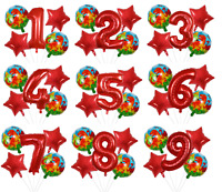 Dinosaur Balloon Kit RED Dino 30'' Age Number Happy Birthday 5 Party Balloons