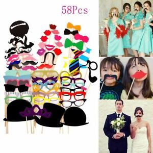 58pcs Funny Party Props Photo Booth Moustache Birthday Christmas Wedding Selfie