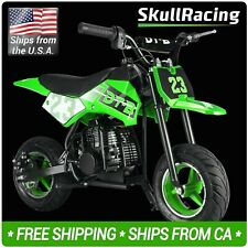 SkullRacing Gas Powered Kids Mini Pocket Dirt Bike Motorcycle (Green)