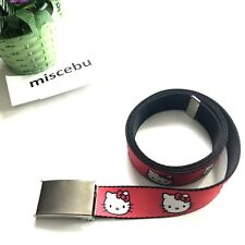 "Hello Kitty Sanrio Red Black White Adjustable One Size Belt Buckle Fabric  48"" L"