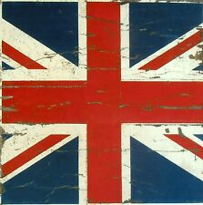 TEX EX ORIGINAL VINTAGE UNION JACK BRITISH FLAG VELVET CUSHION PANEL RED BLUE