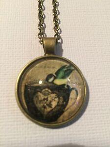 Vintage Pieces - Bronze Necklace Glass Cameo - Antique Tea Cup and Bird