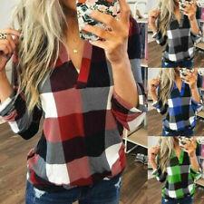 Womens V Neck Casual Long Sleeve Plaid Shirt Loose T Shirt Plus Size Blouse Tops