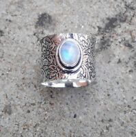 Rainbow Moonstone Solid 925 Sterling Silver Band Ring Meditation Ring rp013