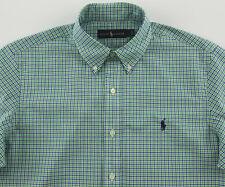 Men's RALPH LAUREN Blue Green White Plaid Shirt XXL 2XL NWT NEW Blue Pony