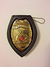 Badge Holder Genuine Leather Recessed for Shield Badges,Neck Chain, Belt Clip,