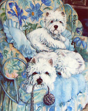 """WEST HIGHLAND WHITE WESTIE DOGS ART LIMITED EDITION PRINT - """"The Blue Chair"""""""
