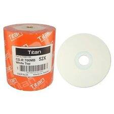 100 Titan Brand White Top 52X 80min 700MB CD-R CDR Blank Disc Media