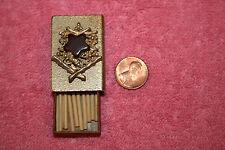 Vintage Match Box Metal Case Shaped with Star Bird Center Design