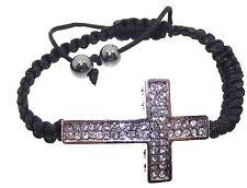 Christian Catholic Crystal Diamante Cross Adjustable Bracelet