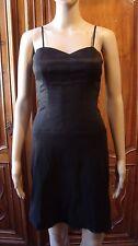 ALAIN MANOUKIAN robe droite en soie noir fines bretelles, T.34 - PARFAIT ETAT
