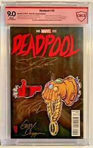 Deadpool #45 1:50 Run The Jewels Variant CBCS Red Label 3X Signed White Pages