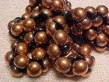 VINTAGE 25 BRONZE CAPPED BLACK MUSHROOM BUTTON GLASS BEADS 9X8mm  #010115z