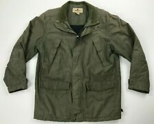Vintage Woolrich Field Military Jacket Men Size Large Corduroy Trim Hunter Green