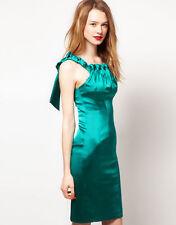 Satin Patternless Square Neck Sleeveless Dresses for Women