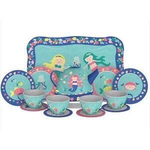LAST ONE Mermaid Tin Tea Set Whimsical Preschool Pretend Dishes Kitchen Play
