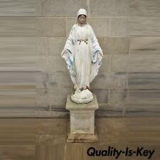 "Vintage Cement Concrete Virgin Mary Garden Sculpture Statue on Pedestal Base 50"""