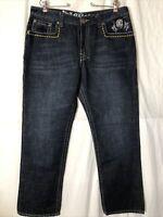 Kanji Collection Men's Dark Blue Denim Jeans Thick Stitching Embellished Size 38