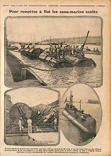 Submarine US Navy Sous Marins Coulés Cylindres WWI 1915