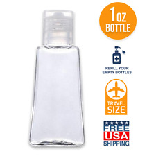 1 OZ Refillable Travel Bottle Flip-Top Cap - Liquids / Gels (Empty Bottles) BULK