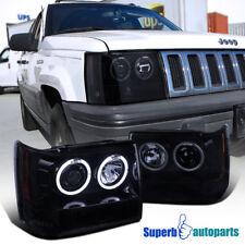 1993-1996 Jeep Grand Cherokee Smoke Halo Projector Headlight Glossy Black Pair