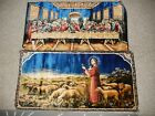 """Vintage Tapestry Jesus Shepherd Sheep Lambs + Last Supper Tapestry Rug 39"""" X 19"""""""