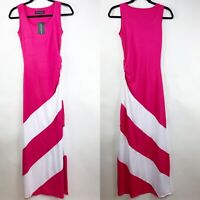 Ariana James Womens Dress Size X-Small Sleeveless Pink White Ruched Side Maxi