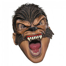 Wolf Man Mask Vinyl Half Facemask Wolfman Halloween Costume Brown REALISTIC NEW