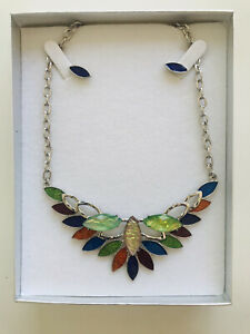 Colourful glass necklace and matching earrings by Tasmanian Artisan