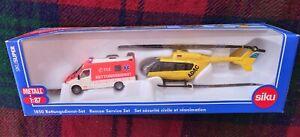 "SIKU 1850 1/87 Rescue set: Mercedes Benz ambulance + Eurocopter ""ADAC"" (MIB)"
