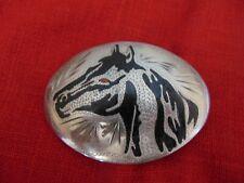 Vintage Native American Sterling Silver Engraved & Inlaid Horse Head Belt Buckle