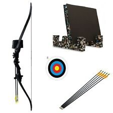 Junior Archery Black Recurve Bow Set Youth Kit Arrows & Target Package
