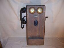 Antique Original Oak Wood Wall Western Electric Hand Crank Telephone