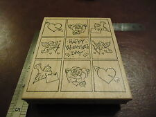 LARGE HAPPY VALENTINE'S DAY RUBBER STAMP BE MINE SPRING CUPID LOVE LETTER