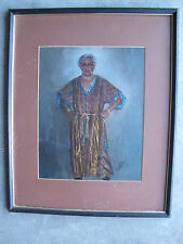 Vintage Signed Portrait Painting Kismet the Genie Framed