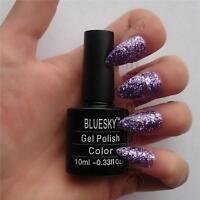 Bluesky S10N PURPLE GLITTER UV/LED Soak Off Gel Nail Polish 10ml Free Postage