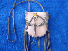Leather Medicine Bag  Necklace Pouch Native Beaded Medicine Pouch with Owl
