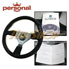 Italy Personal Grinta 350mm Steering Wheel Suede Leather Yellow Stiching Horn