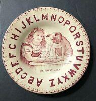 VTG. Antique Me First Jack BULLDOG DOG Alphabet Portrait Porcelain China Plate