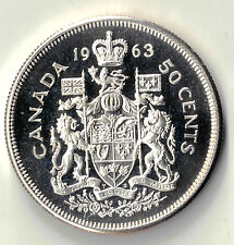 1963 CANADA 50 CENTS  SILVER PROOF LIKE UNCIRCULATED COIN DBW