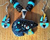 Sterling Silver Zuni Inlay Cosmic Bear Turquoise Rondelle Necklace & Earring Set