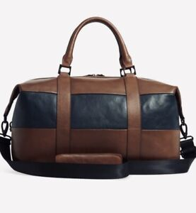 NEW TED BAKER ELTON HOLDALL BROWN LEATHER STRIPED