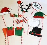 12pc XMAS Photo Booth Props Christmas Holidays Theme Set Selfie Pictures