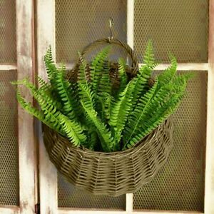 Wicker Wood Wall Hanging Pocket Basket Flat Back Door Decor Flower Case itrg